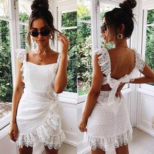Summer Dress Women Boho Bohemian Hollow Out Crochet Lace Embroidery White Dress Backless Tie Ruffle Mini Beach Dresses Sundress