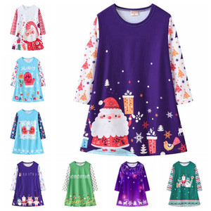 Christmas Girls Dresses long Sleeve Toddler Princess Dress Printed Children Clothes Xmas Costume Boutique Kids Clothing 9 Designs DW6103
