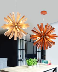 Diente de león nórdico arañas de madera Iluminación Restaurante Café decoración Colgante Lámparas Simple Sala de estar Estudio Lámparas personalizadas