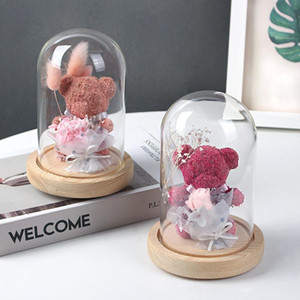 Preserved Flowers Glass Cover Bear Rose Gift Boxes Decoration Valentines Day Gifts Flower Bear Rose Wedding Gifts HWD4250