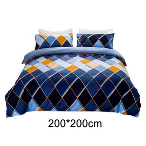 3pcs Pillow Cases Accessories Gift Fashion Bedroom Rhombus Print Extra Soft Bedding Set Hotel Breathable Comfortable Quilt Cover