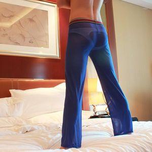 남자 잠옷 남자 섹시한 느슨한 메쉬 깎아 지른 라운지 바지를 통해 루스 피팅 수면 바지 검은 흰색 M L xl1