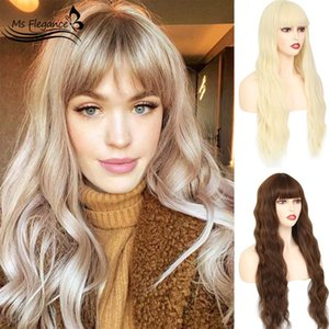 24In Long Blonde Water Body Wave Synthetic Wigs With Bangs Fake Hair For Women Natural Lolita Wig Cosplay Hair Wigs