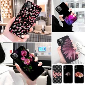 Renkli Pembe Çiçekler Yumuşak Silikon Telefon Kılıfı Için iphone 11 Pro XS Max X 8 7 6 S Artı 5 SE 11 XR Kılıf Kılıf Yumuşak Kapak
