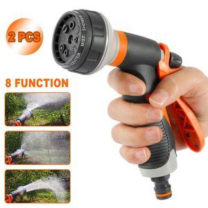 Garden Hoses 2PCS 8 Functions Water Gun Hose Nozzle Mutifunctional Household Car Washing Yard Sprayer Pipe Sprinkle Tools