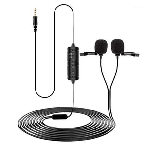 YICHUANG Dual Lavalier Microphone HandsFree Clip-on Lapel Microphone Mini Collar Condenser Mic for Camera DSLR Phone PC Laptop1