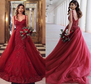 Dark Red Overskirts Prom Dresses Sexy Spaghetti Straps Lace Appliques Sequins Bridal Second Reception Dress Backless Evening Gowns AL8304