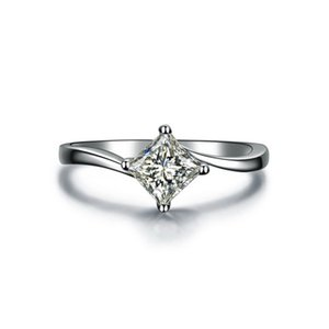 1CT Princess Cut Synthetic Diamond Wedding Ring White Gold Cover Great Quality Excellent Jewelry