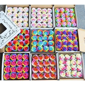 16 Pcs Set Colorful Soap Rose Flowers with Gift Box for Wedding Favors Decoration Handmade Artificial Flower Party Supplies1