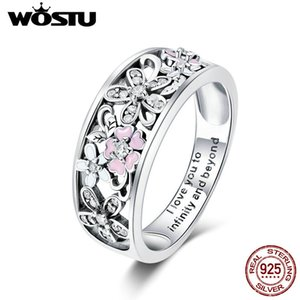 WOSTU Real 925 Sterling Silver Sparkling Stackable Flower 4mm Finger Rings For Women Silver Jewelry Party Wedding Gift CQR390 Y1119