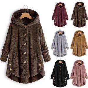 Women Hoodies Sweatshirts Hooded Fleece Casual Warm Button Plush Hooded Hoodie Jacket Fashion Winter Wool Jacket Outwear coat LJ201120