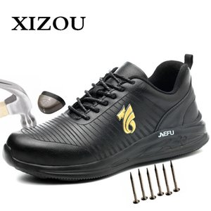 XIZOU Work Shoes with Steel Toe Safety Men Office Boots Indestructible Anti Smashing Puncture Proof Work Boots for Men 201126