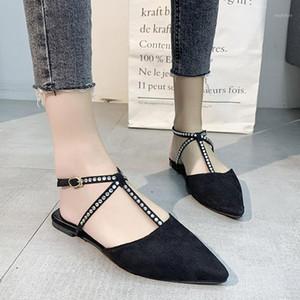 2020 новый плюс размер плоский Womans сандалии обувь заостренный носок повседневные хрустальные сандалии пляжные тапочки Zapatos de Mujer # D351