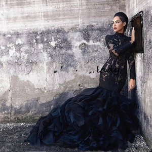 Black Mermaid Lace Wedding Dresses With Long Sleeves High Neck Ruffles Skirt Women Non Plus Size gothic lds Bridal Gowns