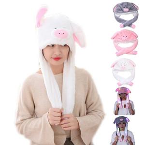 Berretto / cranio berretti bellissimo cartone animato maiale animale cappello in peluche inverno caldo copricapo cappuccio cappuccio 3D orecchi divertente ripieno copricapo partito party puntelli po