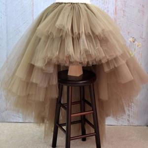 Asymmetrische Tüll Abiballkleid Hoch Tief Tiered Puffy Tüllrock bodenlangen Lange Abendkleider Special entwarfen Mode Tutu 201119