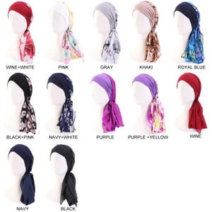 Women Cotton Head With Chiffon Ribbon Scarf Cap Pirate Hat For Ladies Print Fashion New Elastic Turban Polyester Headband