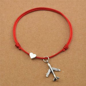 Casual New Heart Love Plane Charm Airplane Pendant Red Cord Lucky Bracelets for Women Men Aircraft Model Travel Jewelry Gifts