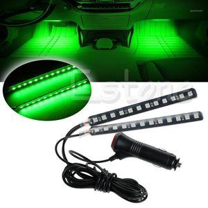 New Signal Lamp 2X12 LED Car SUV Interior Footwell Floor Decor Atmosphere Light Neon Strip Green1
