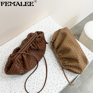 Weaving Leather Pouch Handbag 2019 Soft Hand Fashion Clutch Evening Party Purse Women Large Ruched Cloud Bag Q1208