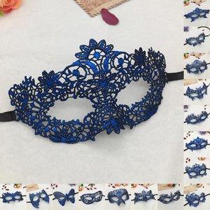 Голубые горячие тиснение дамы глаза сексуальные PROM PAMPI для лица Kfikr Ball Blue Blue Carnival Mask Cutout кружевные маски Маскарад Хэллоуин наполовину горячую 30 jnhg