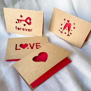 Kraftpapier Liebe Grußkarte Valentinstag Hohle Grußkarte Danksagung Geburtstag Hochzeit Segenkarten 6pcs / satz ZZC2754