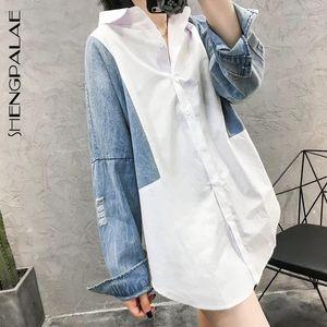 Shengpalae Patchwork Denim Denim Manica Lunga Donne Camicette Colletto di Turn-Down Moda Coreana Top Summer Molla Shirt Shirt Shirt Shirt FM17501