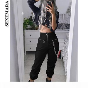 Boofeenaa Black High Waist Zippers Harem Pants Women Joggers Harajuku Loose Trousers With Chain Streetwear Sweatpants C80-af00 MX190716