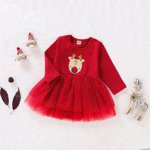 Baby Christmas Outfits Infant Santa Baby Girls Letter Romper Christmas Dot Mesh Skirts Long Sleeve Winter New Year Girl 40DE16 Z1121