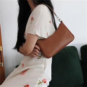 Women's Fashion PU Leather Handbag Ladies Solid Color Chain Armpit Bag Classic Retro Female Baguette Shoulder Messenger Bags Q1129