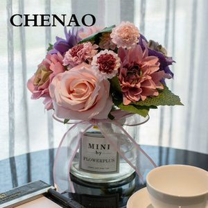 CHENAO Vintage Style Rose Gerbera Daisy Artificial Flower Wedding Home Accessories Decoration Room Decor Low Key Luxury W  Vase Z1120