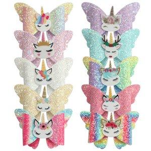INS sequin Unicorn girls hair clips glisten hair bows kids barrettes Cartoon baby BB clips 3.3inch bowknot designer hair accessories B3013