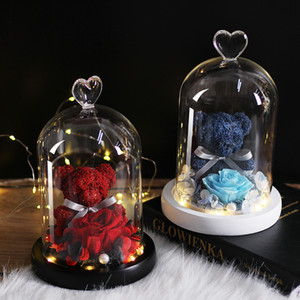 New Teddy Bear Rose Flowers In Glass Dome Christmas Festival DIY Cheap Home Wedding Decoration Birthday Valentine's Day Gifts Y1128