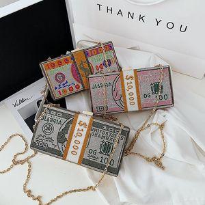 Dollar Money Shoulder Bag For Women Luxury Mini Box Purses Handbags Rhinestone Evening Clutches New Dinner Party Fashion Bags