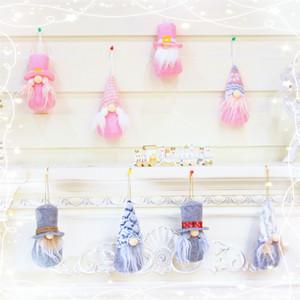 4PCS Set Rudolph Santa Claus Doll Tree Hanging Christmas Faceless Dwarf Doll Pendant New Year Gift Christmas Decor Elf On The Shelf Doll