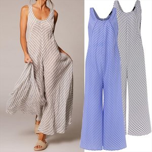 Vintage Striped Jumpsuit for Women 2020 Summer Sleeveless Rompers Wide Leg Pant Casual Workwear Female Overalls Plus Size