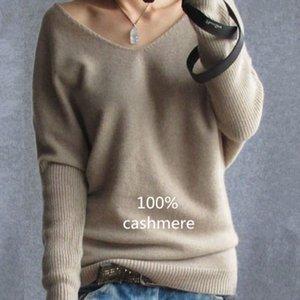 2019 весна осень кашемировые свитеры женщины мода сексуальный V-образным вырезом свитер свободный 100% шерстяной свитер Batwing рукав плюс размер пуловер LY191225