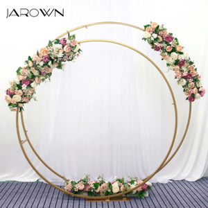 JAROWN New Wrought Iron Double Ring Arch Flower Stand Rose Flower Row Wedding Artificial Flowers Background Decoration Z1120