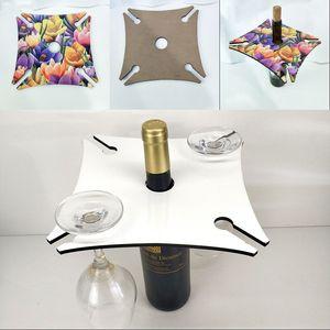 Сублимационные пробелы Gooklet держатель деревянные квадратные четыре угловые красные винные стойки шампанского вечеринки домашнего роста стойки белый 10 5bd G2