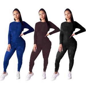 Осень зимние женщины моды спортивные толстовки + леггинсы 2 части наборы 2XL пуловер толстовки брюки с длинным рукавом Jogger костюм одежда 2324