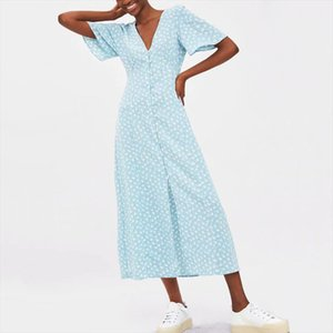 womens dresses Women casual summer dress flower print V neck short sleeved dress Slim Vestidos Drop Shipping Good Quality