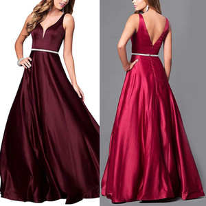 Beautiful evening dress with deep V neckline sexy back and waist with embellished satin gown elegant Burgundy evening party elegant couture