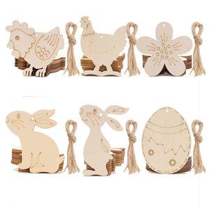 10 unids / lote Colgante de Pascua de madera Huevos de Pascua Feliz Pascua Conejo Conejito Colgante Ornamento Niños Pascua DIY Juguetes