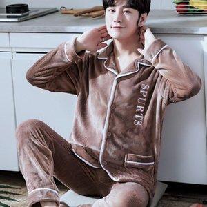 Men Thicken Warm Sleepwear Autumn Winter Flannel Pajamas Set Nightwear 2PCS Shirt&pant Sleep Set Casual Long Sleeve Homewear 3XL