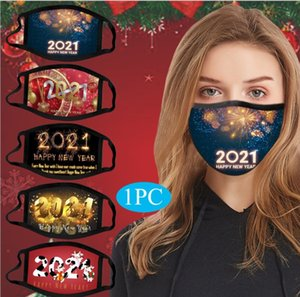 2021 Happy New Year Kids Adult Face Masks Printed Xmas Mask Anti Dust fog Snowflake Mouth Cover Breathable Washable Reusable Christmas Gift