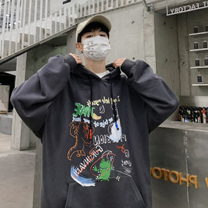 Autumn hooded graffiti sweater men's trend hip hop loose and versatile new TB coat student Hoodie large clothes