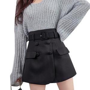 Women Female Plus Size ShortHigh Waist Black Fake Two Piece Shorts Skirts Mini Skirts Short Casual Retro Belt Shorts