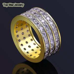 Real Copper Rings Shiny 3 Rows Micro Cubic Zirconia Punk Finger Accessories For Mens Hip Hop Trendsetter Rock Rapper Jewelry Gifts Size 7-11