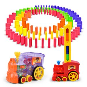 Domino Train Toy Set Rally Electric Train Model Colorful Domino Game Building Blocks Car Truck Vehicle Stacking Kids Gift