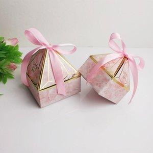 Lbsisi Life Diamond Forma Boda Candy Packaging Boxes Favor de cumpleaños Fiesta Sweet Sugar Mármol Chocolate Caja de galletas con cinta BBYTOR